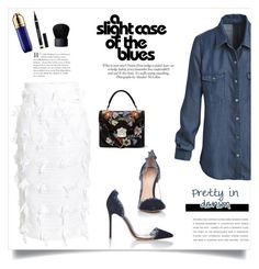 """""""A slight case of the blues"""" by lisamichele-cdxci ❤ liked on Polyvore featuring ANNA, Gianvito Rossi, Alexander McQueen, Stella Jean, White House Black Market, Yves Saint Laurent, NARS Cosmetics and Guerlain"""