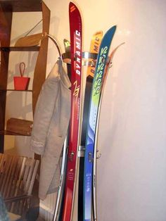 coat rack designed with old skis