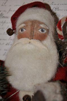 Primitive Santa Folk Art OOAK Christmas Santa by AWINGANDAPRAYER, $65.00