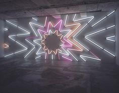 """Stardust"", Mark Handforth // Fluorescent lights, fixtures, gels, 360 x 950 cm Neon Rosa, Tableaux D'inspiration, Light Art Installation, Neon Lighting, Luxury Lighting, Neon Aesthetic, Land Art, Design Art, Interior Design"