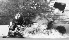 Danny Ongais crashes heavily, '81 Indy 500. Totally exposed in front of the car, critically injured - luckily fire was behind him.