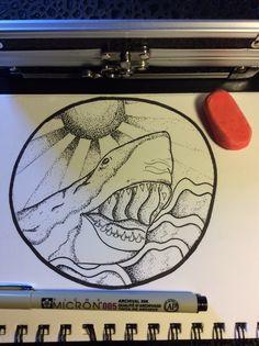 Dot work shark/sea scene, made with micron liner 005