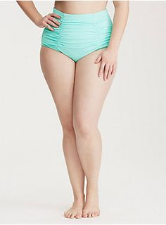 "<div>This eye-popping aqua blue high waist swim bottom provides tummy smoothing coverage, while remaining totally sexy. The retro style has ruching throughout that helps slim your silhouette. Lined with power mesh to contour the body.</div><div><br></div><div><b>Search SKU 10753630 for matching bikini top</b></div><div><ul><li style=""list-style-position: inside !important; list-style-type: disc !important"">Tummy control</li><li style=""list-style-position: inside !important; list-style-type…"
