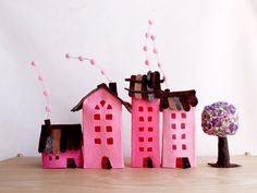 Four buildings of felt with a tree. Miniature. by Intres on Etsy, $35.00