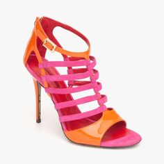 Patent Leather Strappy Sandal With Back Zip In Orange & Pink <3