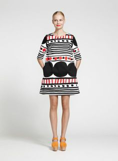 Marimekko has one great design after another! And it's always so happy looking. //Apparel: Pihla in white, black, red Belle Silhouette, Fashion Prints, Fashion Design, Pop Fashion, Inspiration Mode, Passion For Fashion, Dress Skirt, Casual, What To Wear