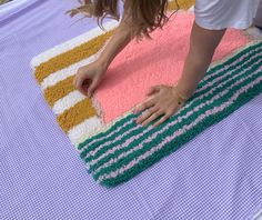 Funky Rugs, Cool Rugs, Fibre Material, Material Art, Textiles, Tapestry Weaving, Punch Needle, Rug Making, Textile Art