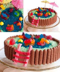 Swimming Pool: A hollowed out chocolate cake is filled with blue Jell-O and topped with candy decorations.