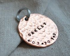 Stamped Copper Dog Tag - Pet ID - Personalize with your own info