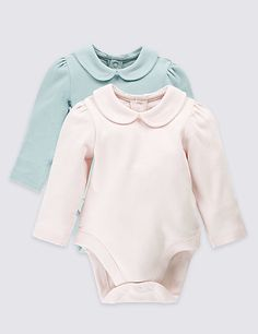 2 Pack Pure Cotton Collared Bodysuits | M&S