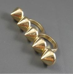 Fashion Vintage Accessories Punk Rivet Two Finger Rings, cheap fashion jewelry ,shop at www.costwe.com