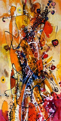 oil on canvas size 90cmx45cm dripping technique signed E.Bissinger 2014   It requires no frame. Certificate of Authenticity.