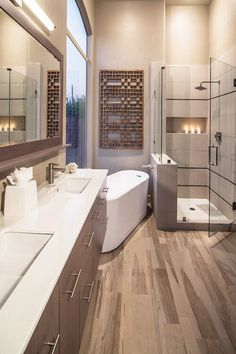 Bathroom- I like the tiled insert with candles. Would be nice next to a jetted tub.