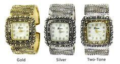 Geneva Women's Marcasite Square Antique Watch Geneva Watches, Watch 2, Antique Watches, Marcasite, Bangles, Antiques, Silver, Gold, Accessories