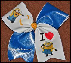Custom Minions I LOVE MINIONS CHEER bow by Kreationz4kidzdotcom, $14.00