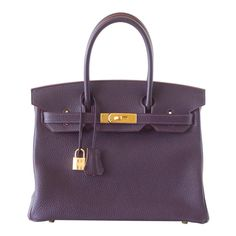 HERMES BIRKIN 30 Bag Rich Raisin Gold Hardware Togo Original Colour | From a collection of rare vintage top handle bags at https://www.1stdibs.com/fashion/handbags-purses-bags/top-handle-bags/