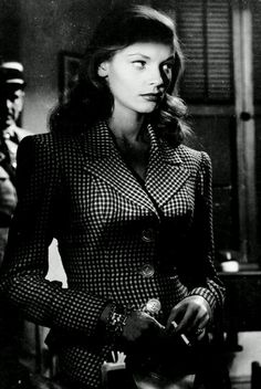 Lauren Bacall....that outfit did not come from Costco #film #noir http://filmnoirstyle.com