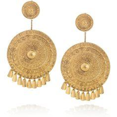 Aurélie Bidermann Pachacamac 18-karat gold-plated medallion clip... ($705) ❤ liked on Polyvore