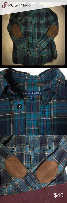 Ralph Lauren plaid shirt Only worn once, excellent condition! Ralph Lauren plaid shirt with cute elbow pads! Perfect shirt for fall🍁🍂 Ralph Lauren Tops Button Down Shirts