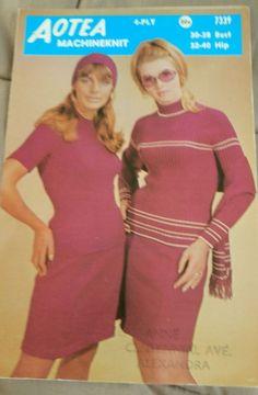 Women's Sweaters long & short sleeve vintage MACHINE knitting pattern #Aotea