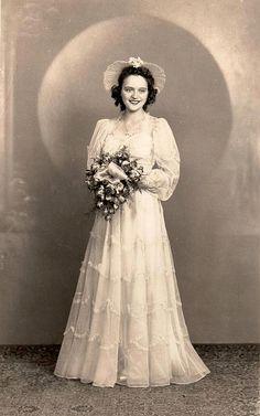 Bride, vintage wedding gown, dress