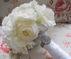 Ivory Rose Peony and Ranunculus Silk Bridal Bouquet
