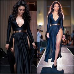 $13.99 + $5.99 Shipping- I'd Wear Black Leggings W/ A Black Tank Top (Maybe W/ Lace.) Sexy women's Deep V Neck Long Casual Maxi Tee Shirt Double Split Dress High Slit #unbrand #Maxi #Cocktail