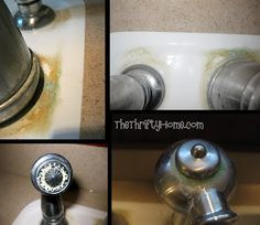 How to Remove Hard Water ~ *The Thrifty Home . Soak paper towels in vinegar and wrap around faucets, spray vinegar to keep moist wait 20 minutes to an hour and wipe off. You may need to scrub off the hard water & repeat if it didn't get clean enough. Deep Cleaning Tips, House Cleaning Tips, Diy Cleaning Products, Cleaning Solutions, Spring Cleaning, Cleaning Hacks, Cleaning Closet, Diy Products, Homemade Toilet Cleaner