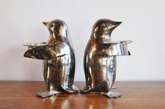2 Silver Plate Penguin Candle Holders Set 2 by CobblestonesVintage