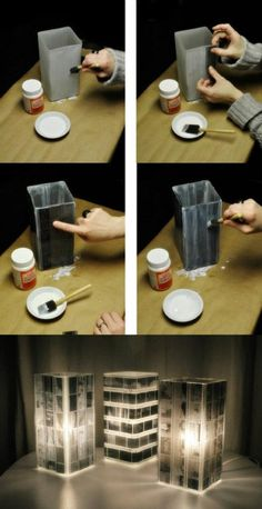 Could do this with plastic containers or bottles and old film negatives