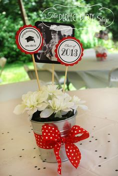 Graduation Centerpiece Stick Listing for 1 by ThePerfectPartyShop - Modern Graduation Flowers, Graduation Crafts, Graduation 2016, Graduation Celebration, Graduation Ideas, Graduation Party Centerpieces, Grad Party Decorations, Flower Decorations, Grad Parties