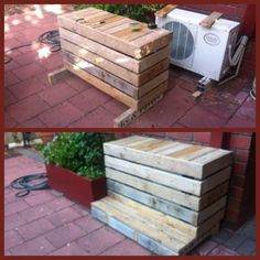 Garden aircon cover and bench made by old recycled pallets. JH design