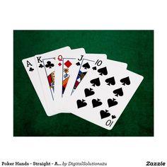 Poker Hands - Straight - Ace To Ten Postcard