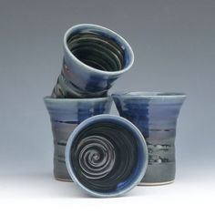 Pottery Tumblers Set of 4 Black with Blue by GammelHousePottery, $60.00