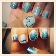 pinterest disney world | Disney castle on my ring finger and the logo on my thumb with ombre on ...