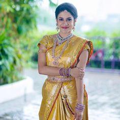 South Indian bride. Diamond Indian bridal jewelry.Temple jewelry. Jhumkis.Gold silk kanchipuram sari.Braid with fresh jasmine flowers. Tamil bride. Telugu bride. Kannada bride. Hindu bride. Malayalee bride.Kerala bride.South Indian wedding. Pinterest: @deepa8