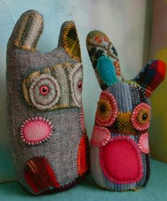 sweater rabbits...nice use for old sweaters and other wool clothes. These were made by Cocoon Designs. More