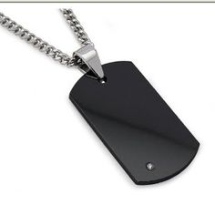 """Men's Black Tungsten Carbide Dog Tag with Diamond 22"""" Steel Curb Link Chain (Jewelry)"""