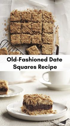 A Canadian classic! Delicious date squares are a simple blend of brown sugar, oats, butter and sweet dates — a comforting treat for a cozy winter afternoon. If there's a baked-goods equivalent to a hug, this is it. Date Recipes, Fruit Recipes, Baking Recipes, Cookie Recipes, Dessert Recipes, Cookie Ideas, Potato Recipes, No Bake Desserts, Te Quiero