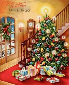 """Vintage """"Christmas Greetings"""" card with presents under a cheery tree. Old Time Christmas, Christmas Scenes, Christmas Past, Christmas Greeting Cards, Christmas Greetings, Christmas Holidays, Christmas Decorations, Retro Christmas Tree, 1950s Christmas"""