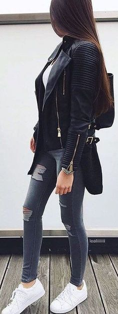 #winter #fashion /  Black Bicker Jacket / Ripped Skinny Jeans / White Sneakers