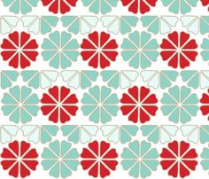 seafoam_decoflowers fabric by holli_zollinger for sale on Spoonflower - custom fabric, wallpaper and wall decals
