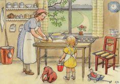 Elsa Beskow - Emily and Daisy-Baking