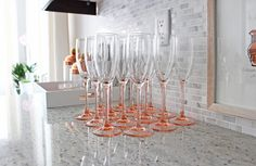 vintage blush pink Luminarc champagne flutes