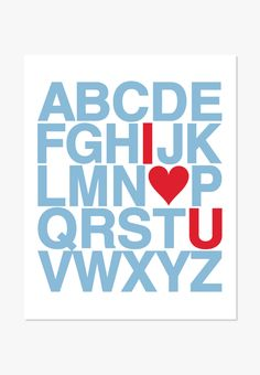 Art Print: Alphabet (Blue & Red)