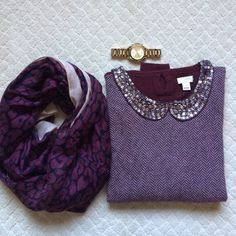 J. Crew Peter Pan collared jeweled sweater This is a gorgeous sweater from j. Crew factory. Worn only once and in great condition. Please notice the missing jewel from the collar. Can be sewn on if you have any extras. I can't find mine. A pretty Burgundy color. Made of viscose and nylon. Great for the holidays! J.Crew Factory Sweaters Crew & Scoop Necks