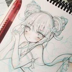 The girl from well girl by Daoko I'll stream the lining and coloring for this tomorrow ^^ but for now have this pic I took yesterday before I sketched the bg and some of her outfits details in~ Also a huge thank you for 18.2k followers! Even though I've been basically dead on here for the past 2 weeks 。・゚ヾ(✦థ ェ థ)ノ。゚・。 - - - - - - #daoko #daokogirl #mememe #memechan #girl #anime #sketch #wip #loli #sketchy #workinprogress #moe #sketchart #doodle #bishoujo #moeart #cuteart