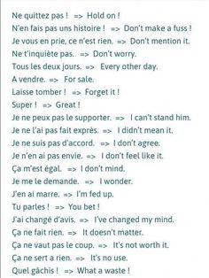 Common French Phrases, Useful French Phrases, Basic French Words, How To Speak French, French Language Lessons, French Language Learning, Learn A New Language, French Lessons, Spanish Lessons