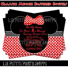 Classic Minnie Mouse Inspired Invitation by LaPetitePartyShoppe, $7.50