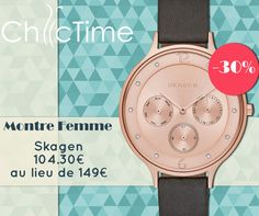 Cet été, misez sur la féminité ! Offrez-vous cette belle montre Skagen à 104.30€ au lieu de 149€ !  Voir la montre Skagen: https://www.chic-time.fr/montres-femme/77358-montre-skagen-skw2392-0768680233896.html